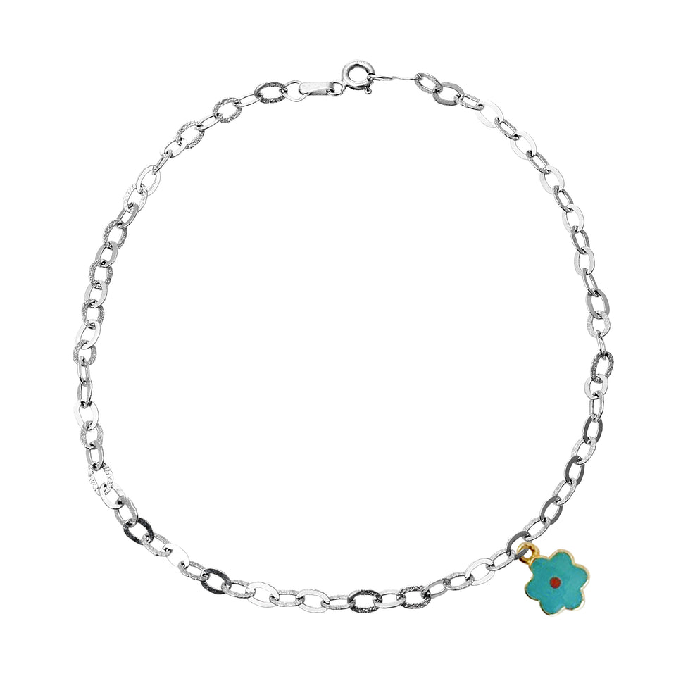 White Gold Blue Daisy Charm Anklet