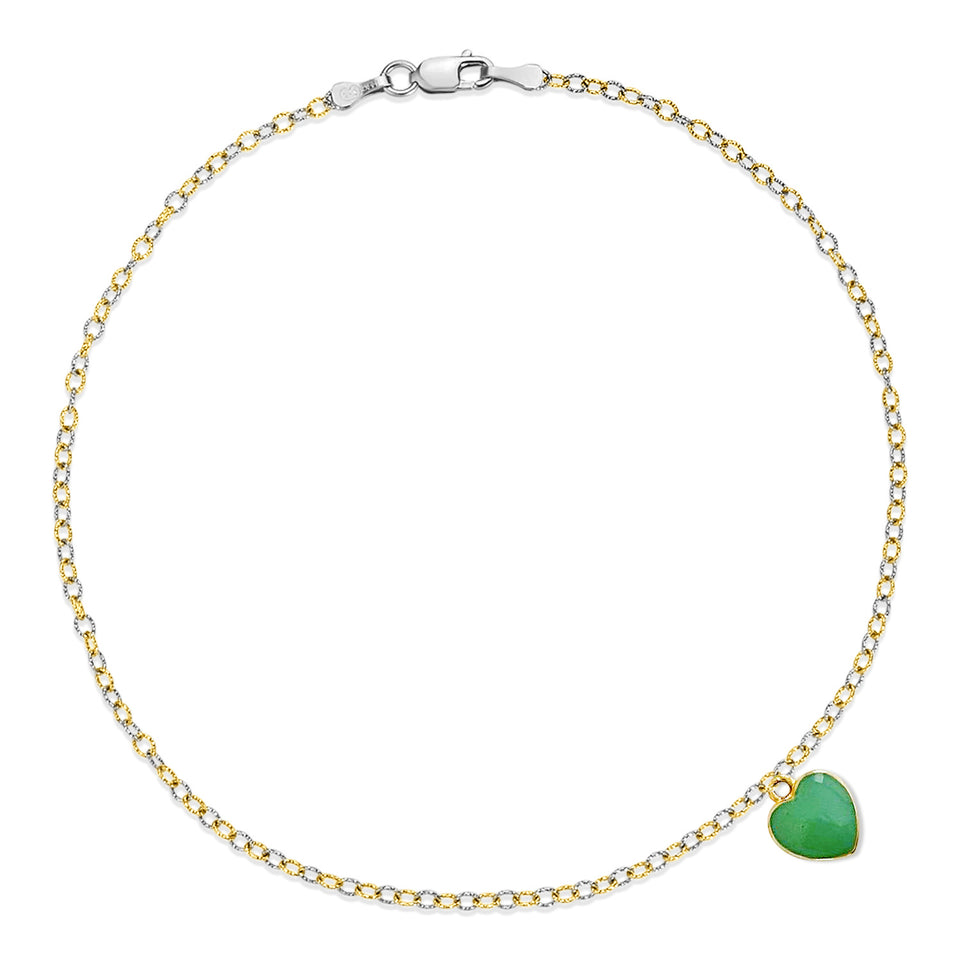 Nehita Two Tone Blue Heart Charm Anklet