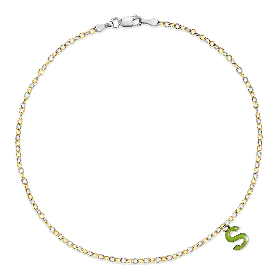 Two Tone Gold S Charm Anklet