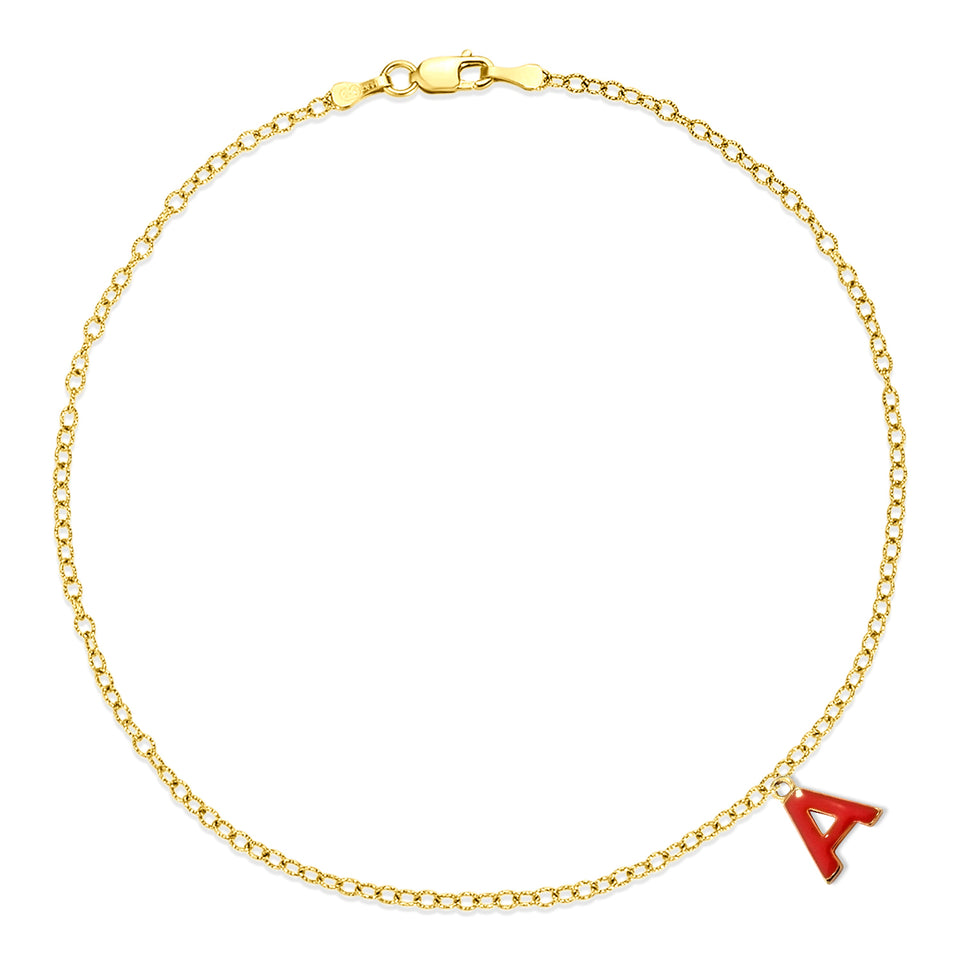 Yellow Gold A Charm Anklet
