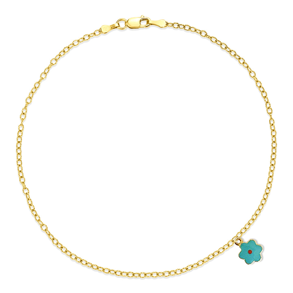 Nehita Yellow Gold Blue Daisy Charm Anklet