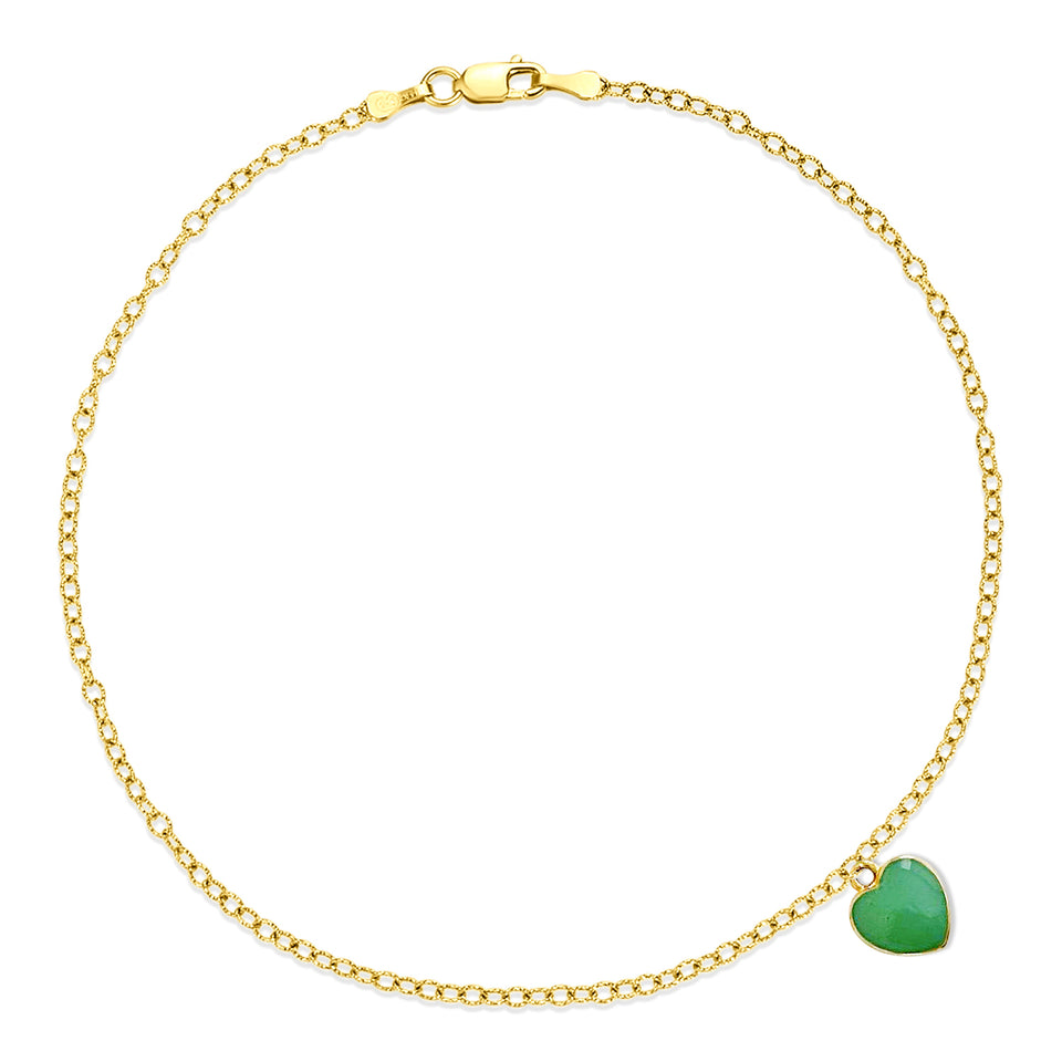 Nehita Yellow Gold Blue Heart Charm Anklet