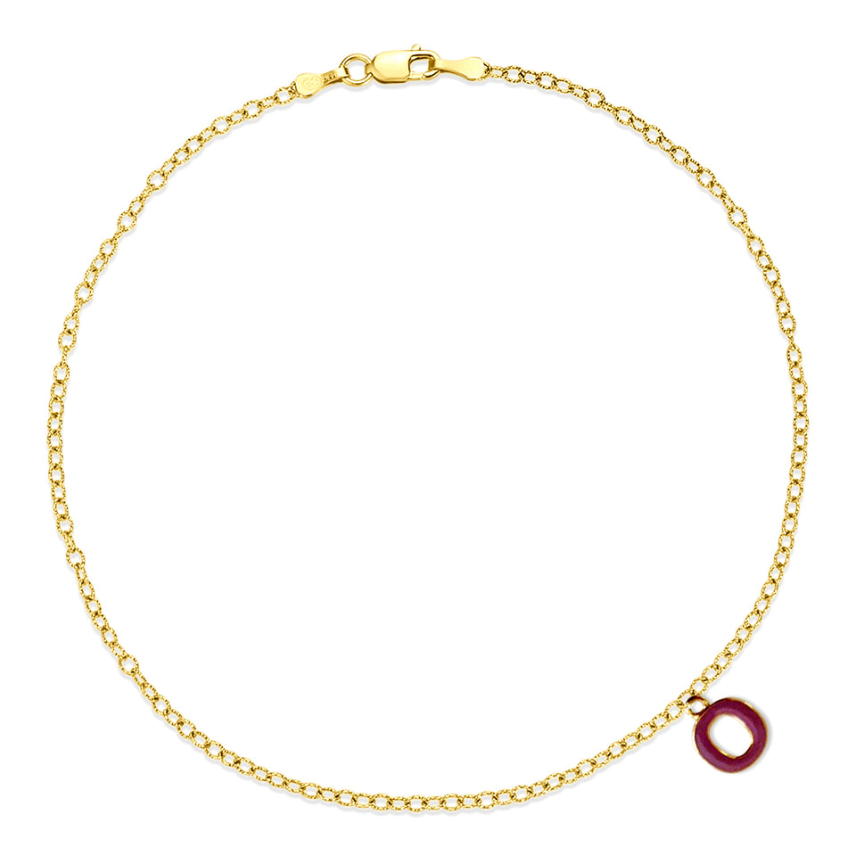 Nehita Yellow Gold O Charm Anklet