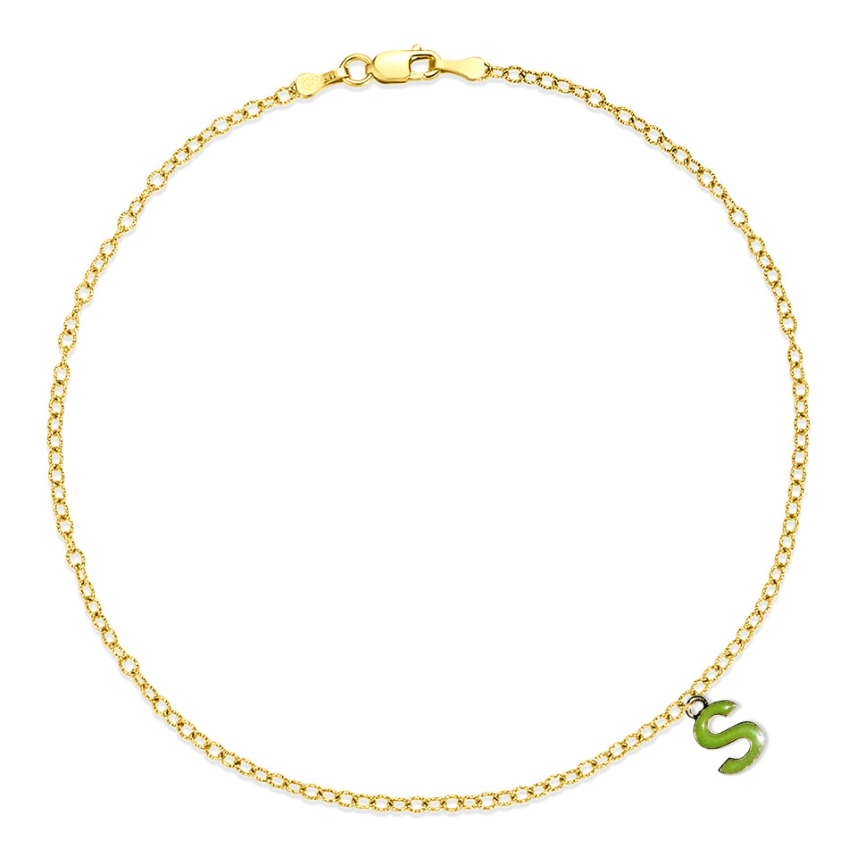 Nehita Yellow Gold S Charm Anklet