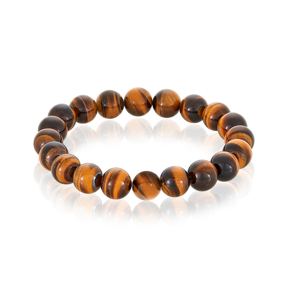 14 karat Gold Cross Charm Tiger Eye Bracelet