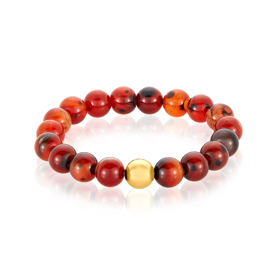 14 Karat Gold Ball Red Agate Bracelet
