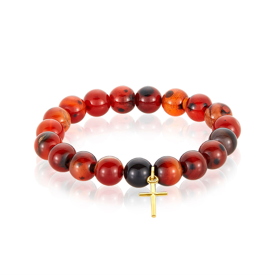 14 Karat Cross Charm Red Agate Bracelet