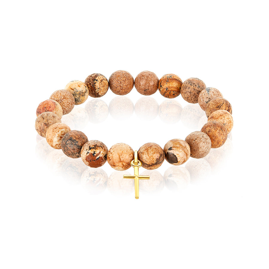 Jasper Gold Cross Charm Bracelet