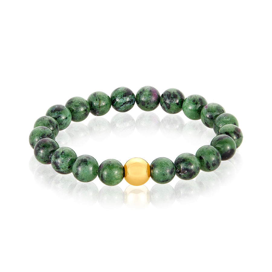 14 Karat Gold Ball Ruby Zoisite Bracelet