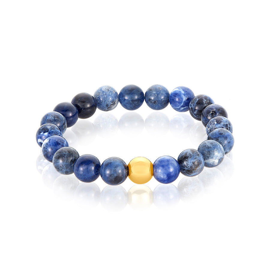 Gold Ball Blue Opal Bracelet
