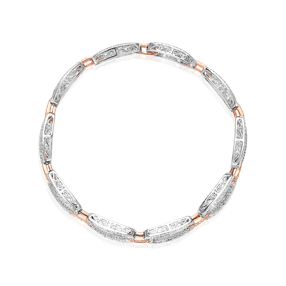 White & Rose Gold Baguette Diamond Bracelet