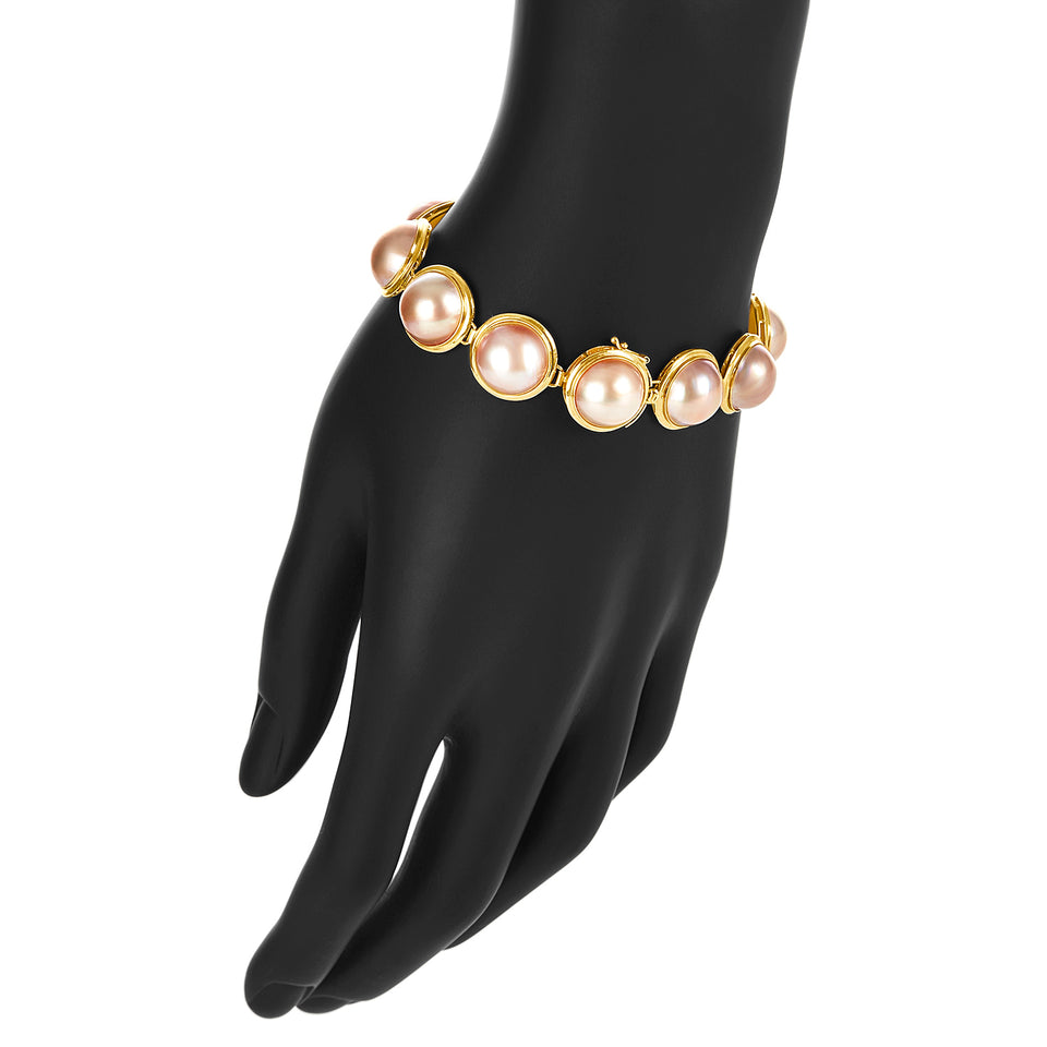 Bezel Cultured Pearl  Bracelet