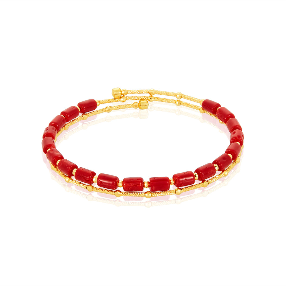 Red Coral Wire Bracelet