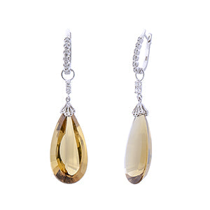 2-in-1 Detachable Brown Quartz Diamond Earrings