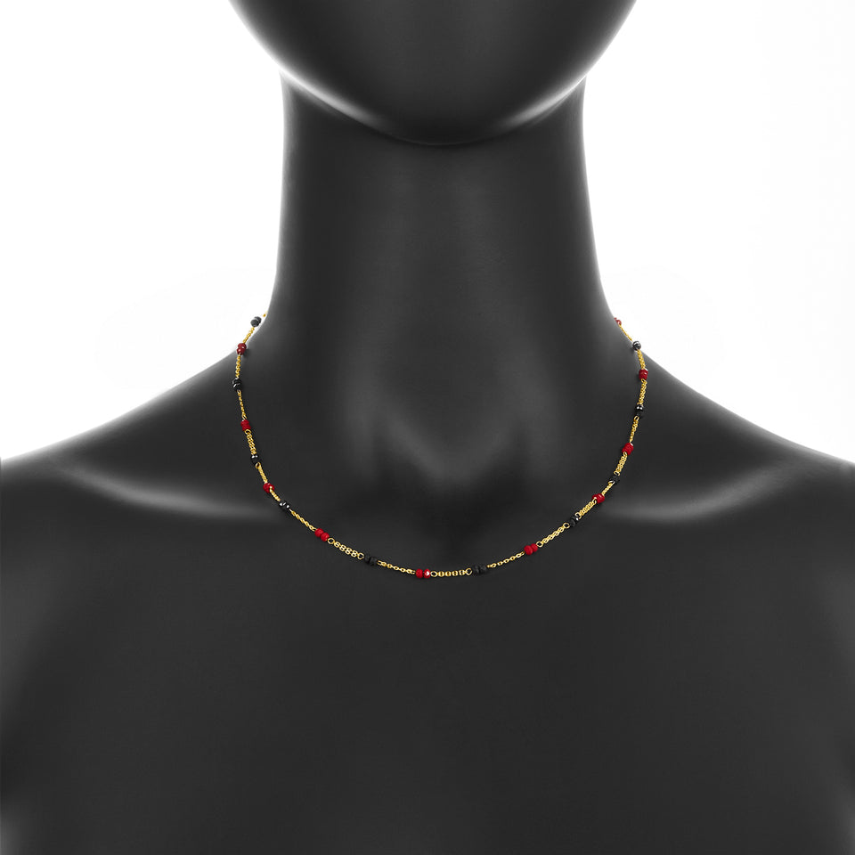 14k Onyx & Red Crystal Necklace