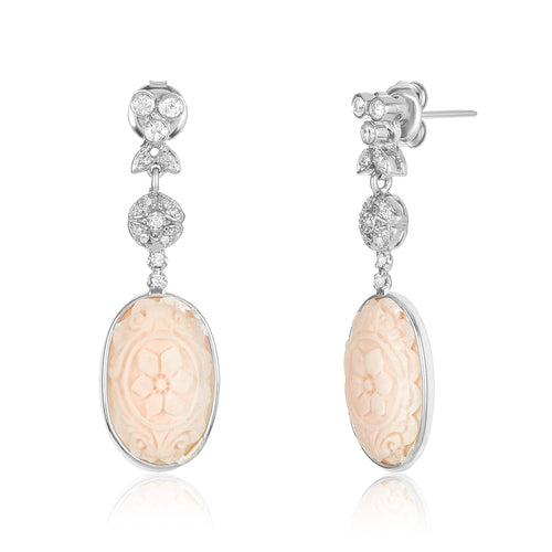 Carved Oval Shape Coral Diamond Earring