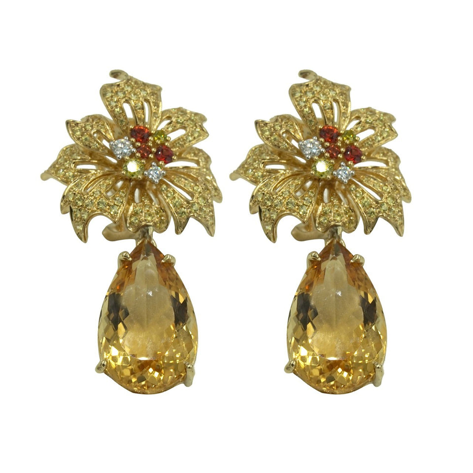 Allure Collection ~  Citrine, Sapphire & Yellow Diamond Earrings