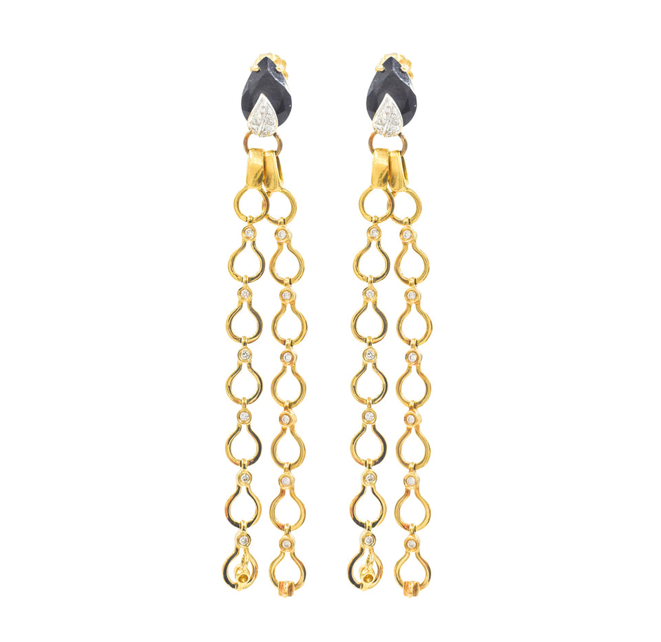 Nehita Double Drape Diamond & Onyx Earrings