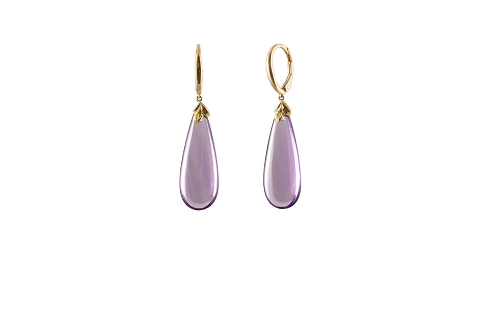 Tear Drop Amethyst & Diamond Earring
