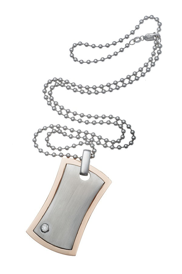 Single Diamond Mens Dog Tag