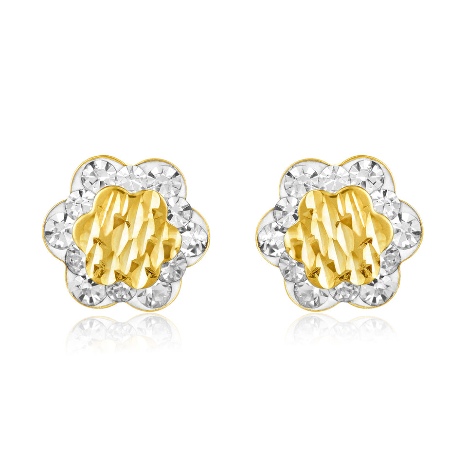 Twin Studs ~ Rose & Yellow Gold Ball