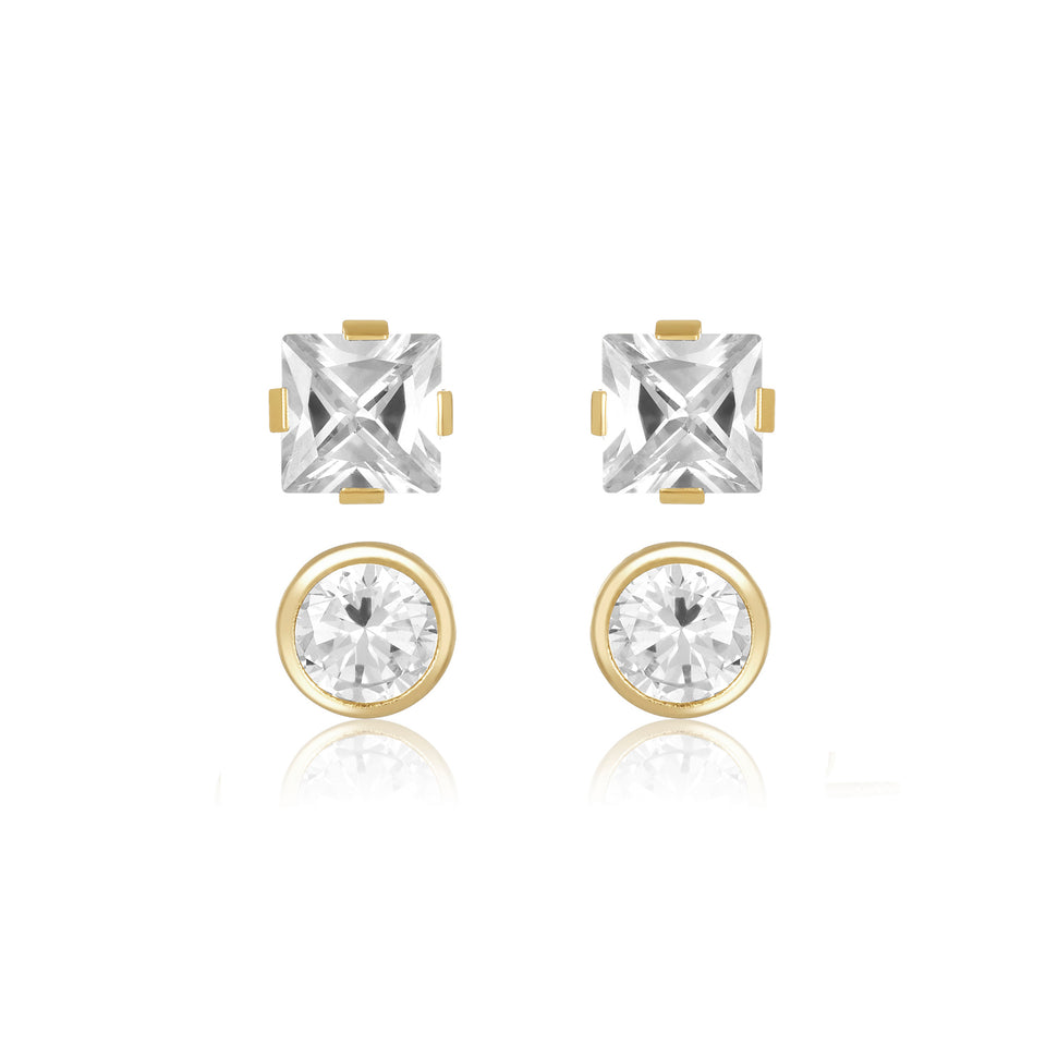 Twin Studs ~ Square & Round Stud Earrings