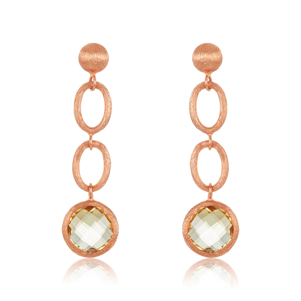 Brush Rose Gold Citrine Earring