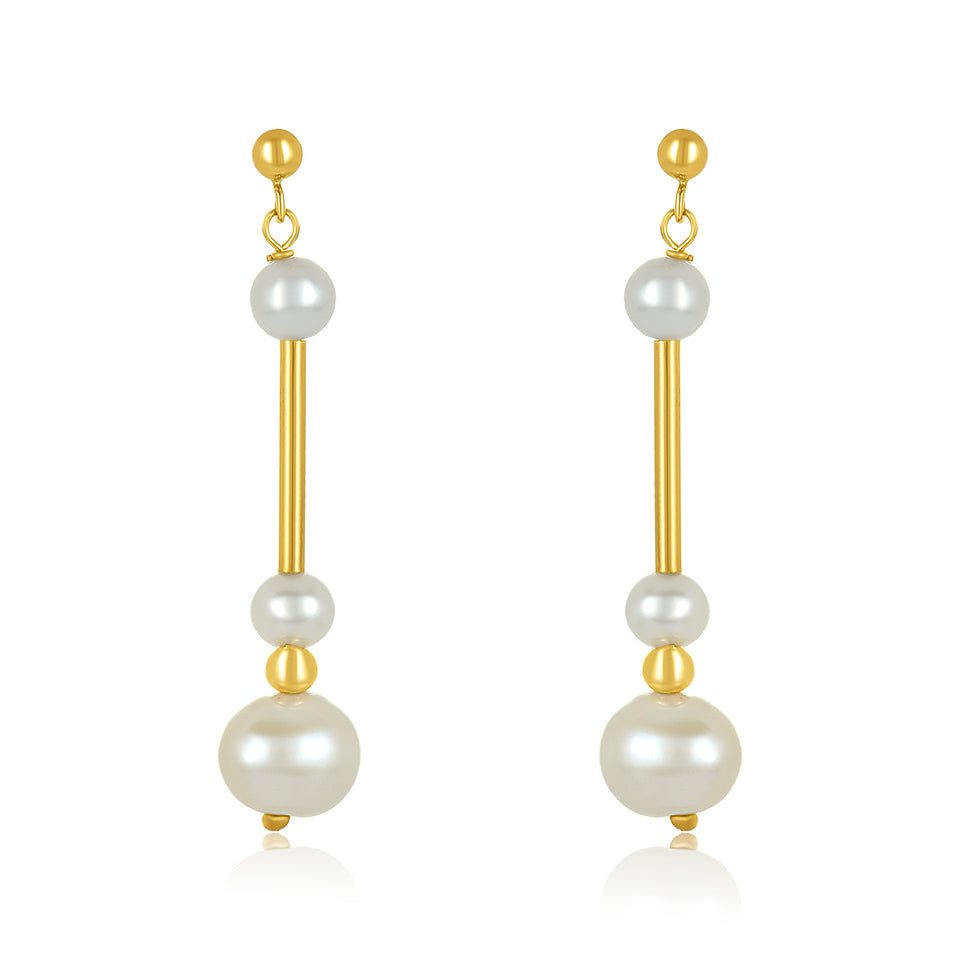 14kt Triple Pearl Bar Earring