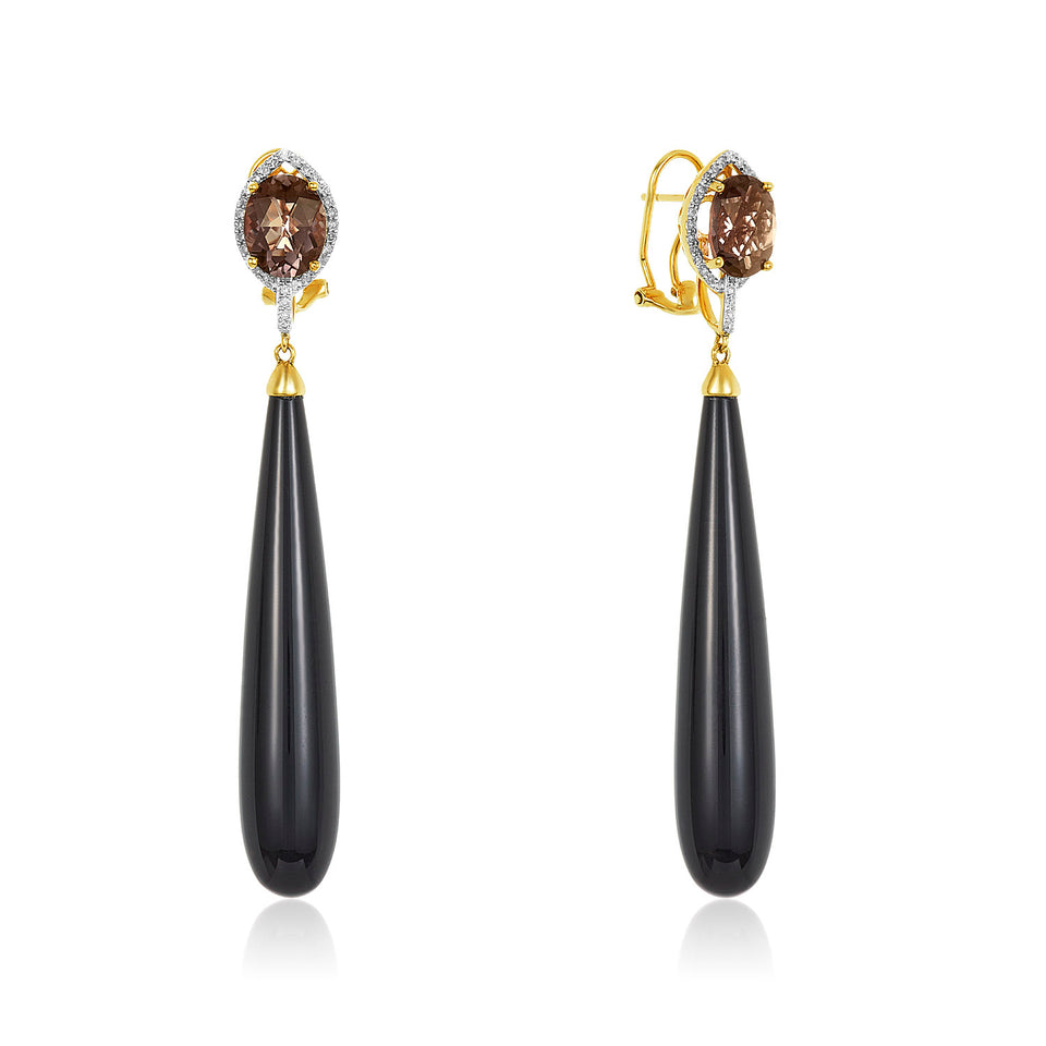 Smoky Quartz White Gold Onyx Drop Earring