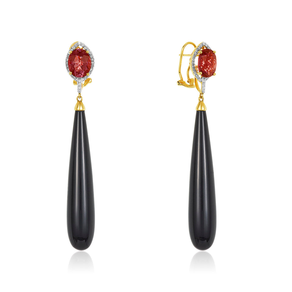 Garnet Onyx Drop Earring