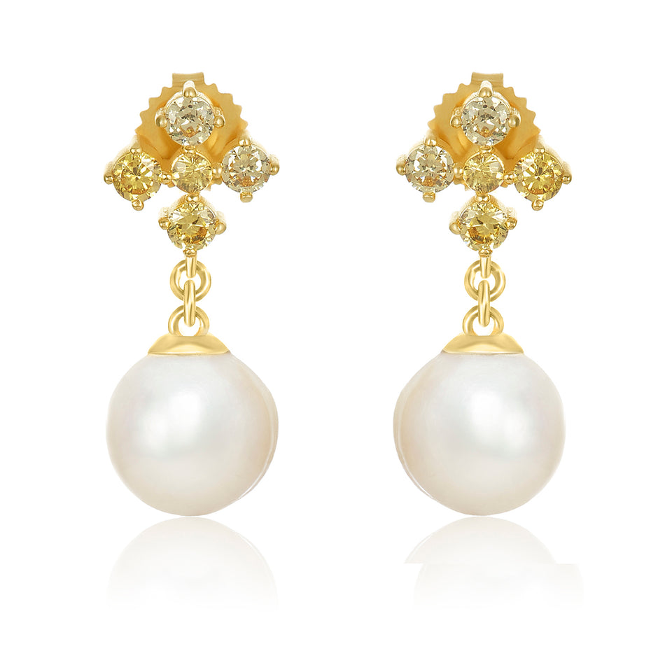 Yellow Sapphire Pearl Earrings