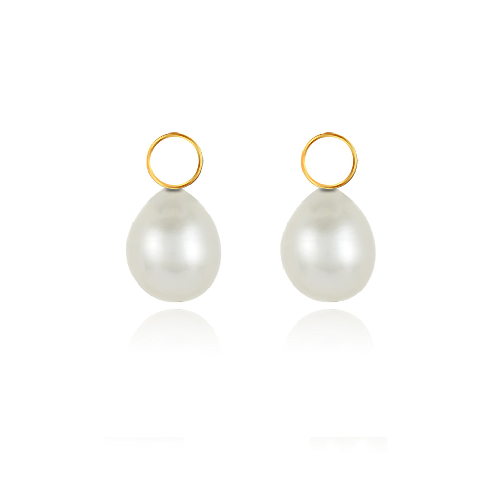 Two-In-On Yellow Gold Pearl Charm Hoop Earrings