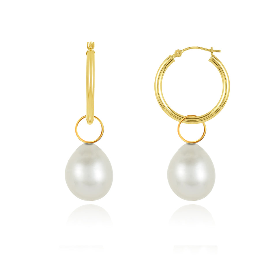 Two-In-On White Gold Pearl Charm Hoop Earrings