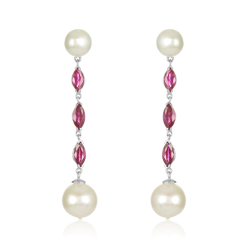 14kt Nehita Ruby & Pearl Earrings