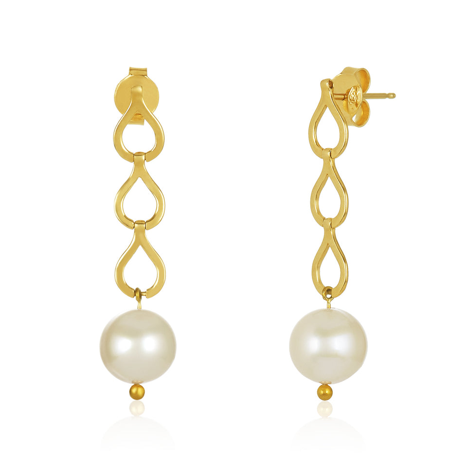 18kt Link Drop Pearl Earrings
