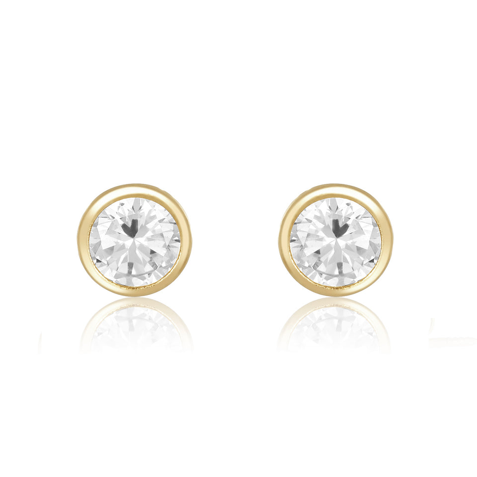 Twin Studs ~ Heptagon & Round Stud Earrings