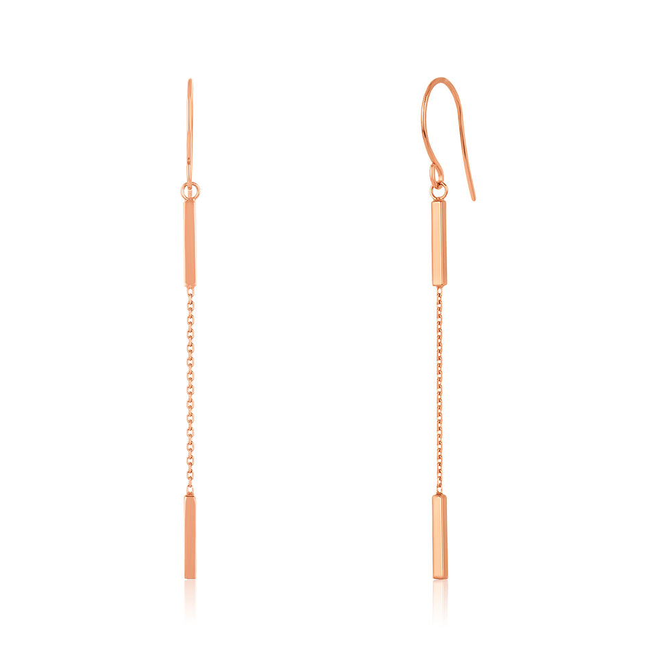 Yellow Gold Double Bar Earring