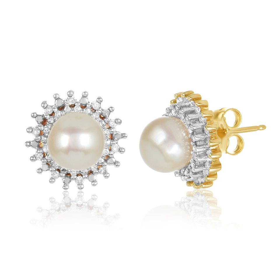 Two Toned Cultured Freshwater Pearl Stud Earrings