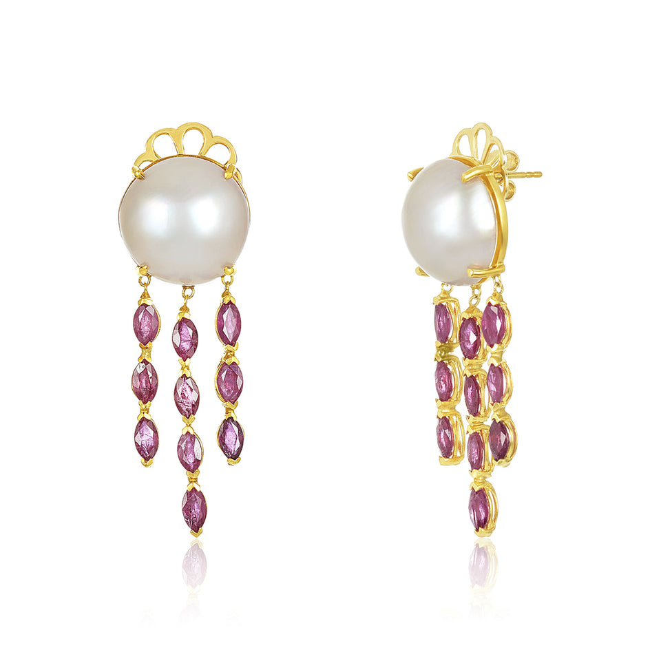 Ruby Raindrop Pearl Earrings