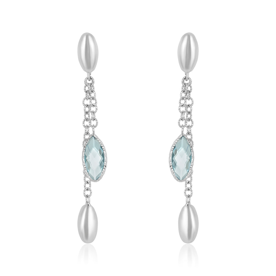 High Low White Gold Topaz Earring