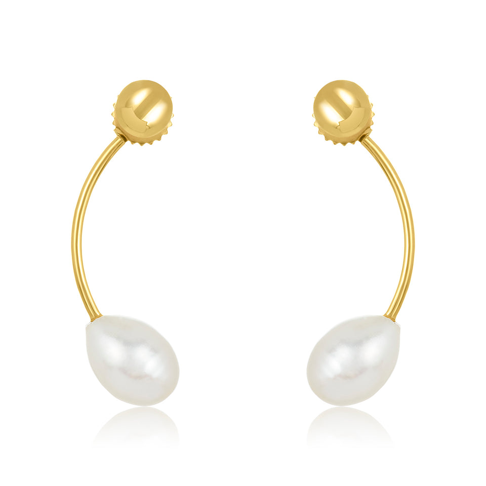 Oval Pearl Curve Earring