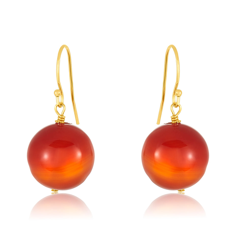14 Karat Red Agate Earring