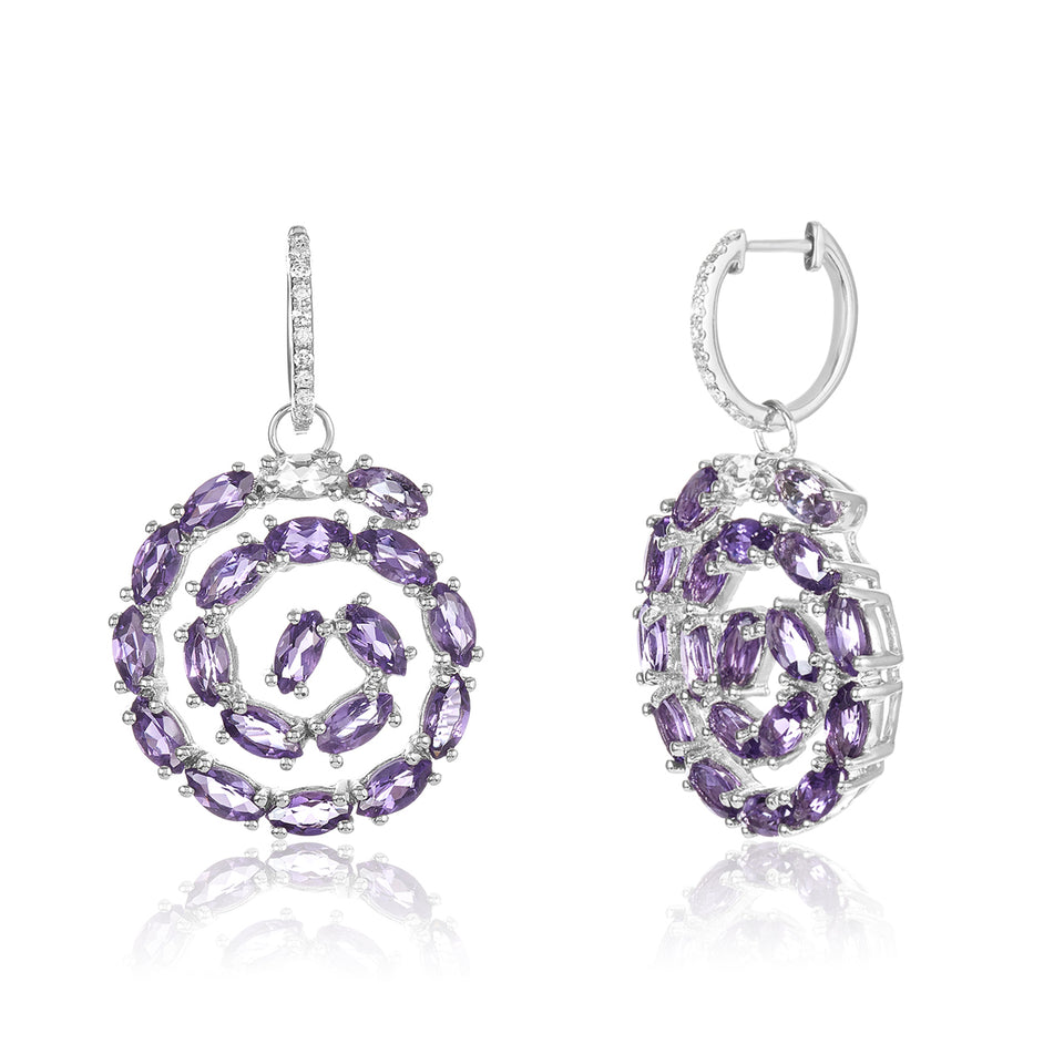 Squirl Amethyst & Diamond Earring