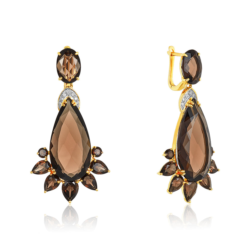 Smoky Quartz & Diamond Earrings