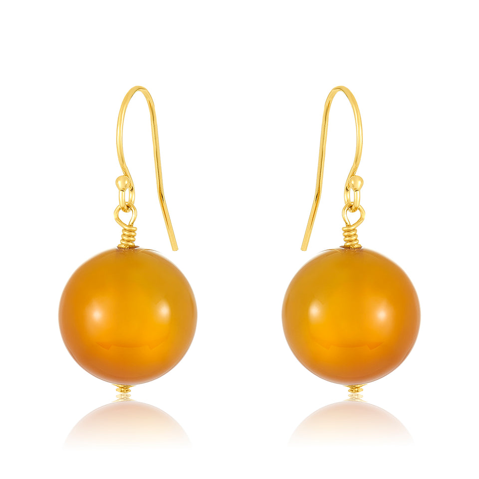 14 Karat Yellow Agate Earring