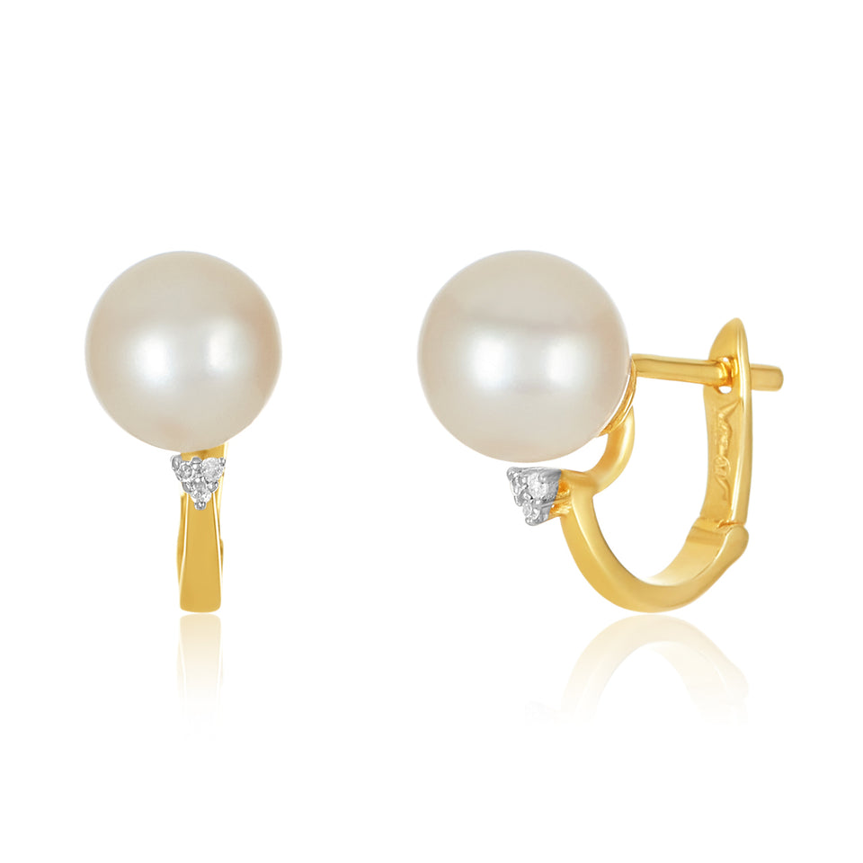 14kt Lever Back Diamond Pearl Earring