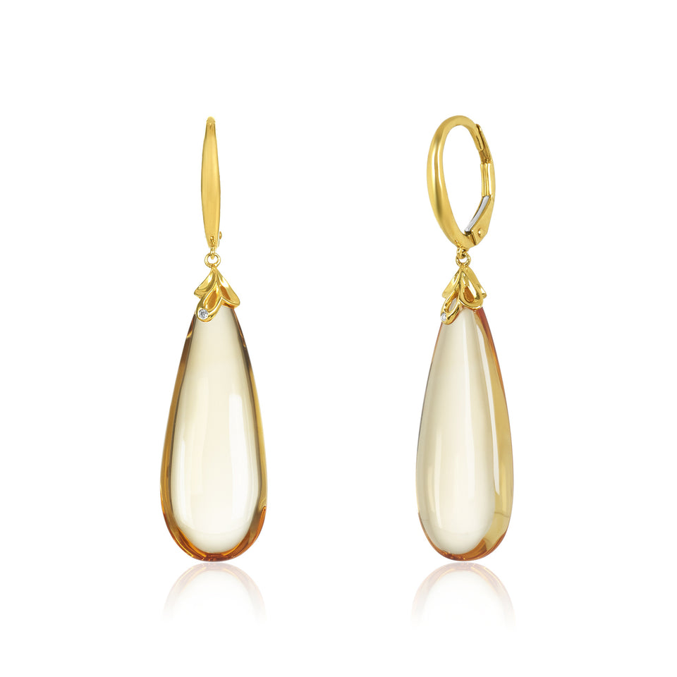 Tear Drop Citrine & Diamond Earring