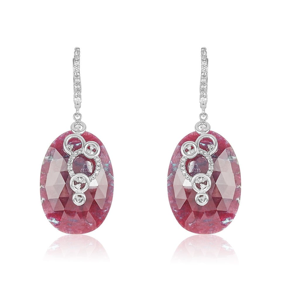 Burgundy Sapphire Diamond Earrings