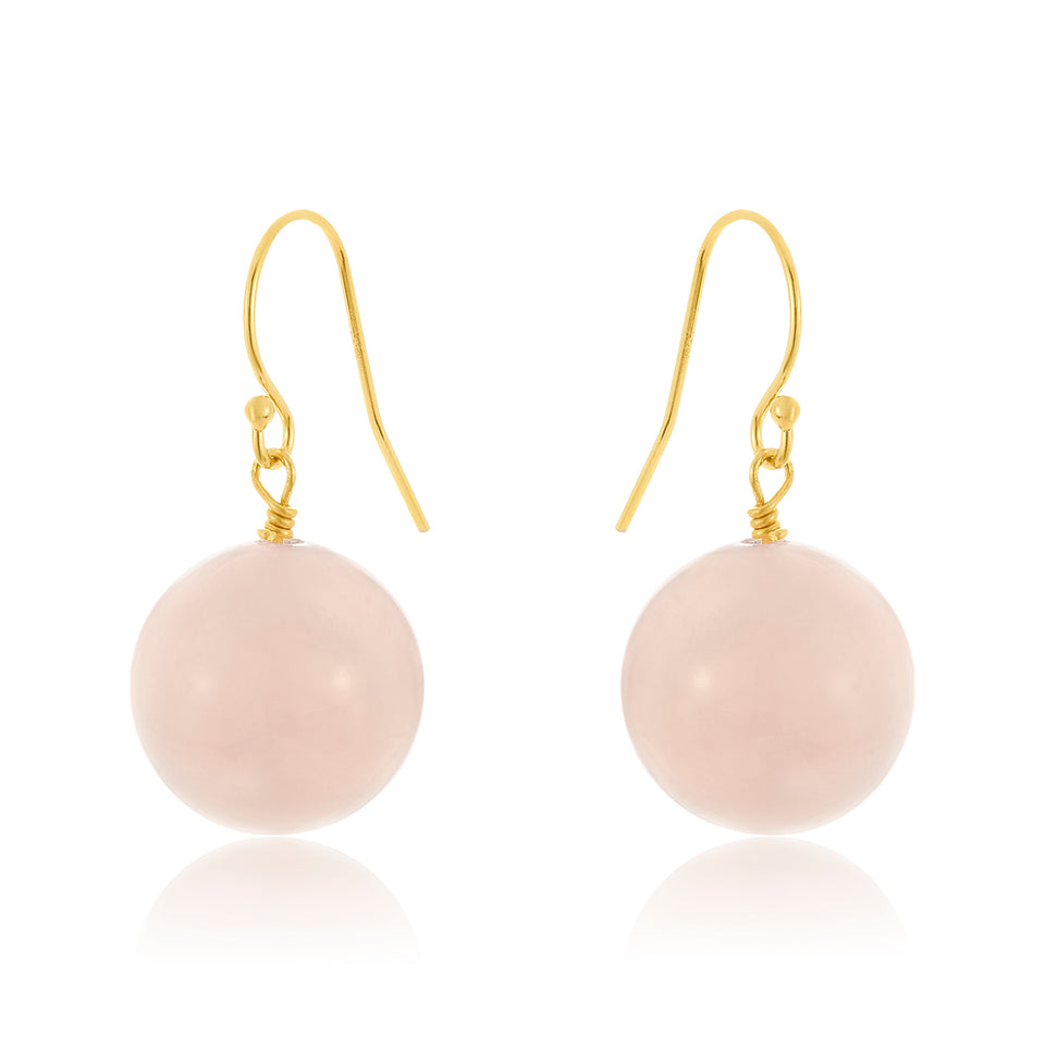 14 Karat Rose Quartz Earring