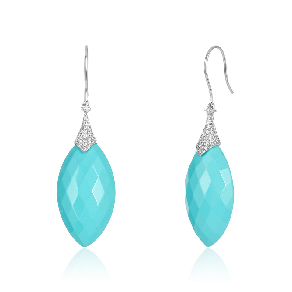Blue Coral & Diamond Earrings